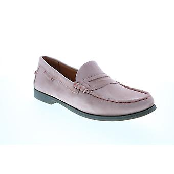 Sebago Plaza II  Womens Pink Suede Slip On Penny Loafers Shoes