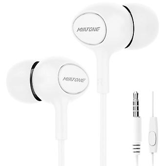 Miatone Earphones with Microphone - 3.5mm AUX Earphones Wired Earphones Earphone White