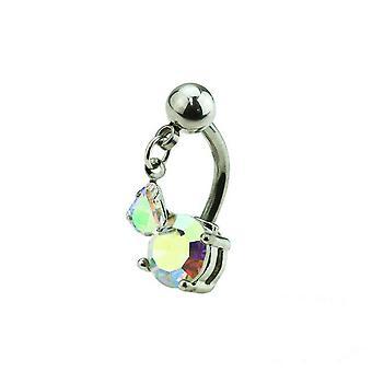 Belly ring reverse teardrop dangle dual gem surgical steel navel piercing