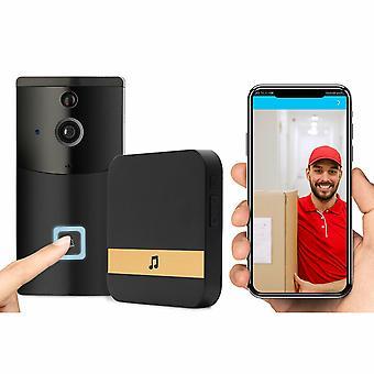 Aquarius Wireless Smart Home Security Video Doorbell, Negro