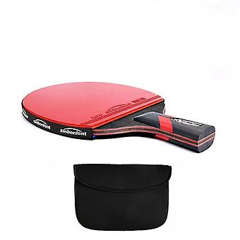 Tennis Table Racket Long-short Handle Carbon/rubber With Double Ping Pong