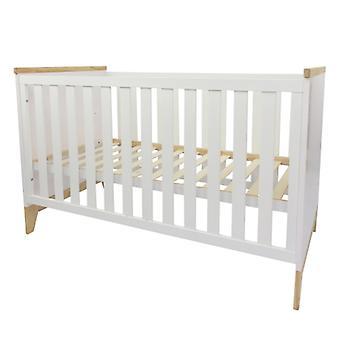 Puckdaddy Babybett Ida 140x70cm in Weiß höhenverstellbares Gitterbett mit herausnehmbaren Sprossen