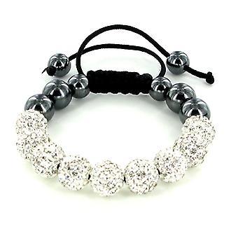 Weiße Shamballa Armband mit Ton Kristall Disco Kugeln