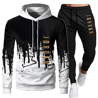 Automne Casual Tracksuit Mens Set Sports Patchwork Hoodie Pant
