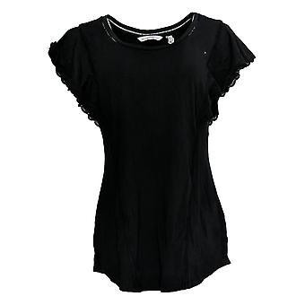 Isaac Mizrahi En direct! Femmes's Top Flutter Sleeve Tunic W/ Dentelle Noire A308013