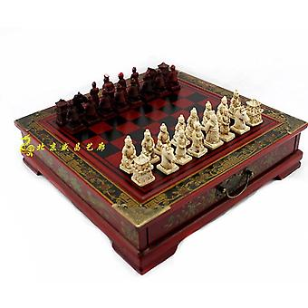 Classic Terracotta Warriors Wooden Chessboard Puzzle Cartoon Characters Chess