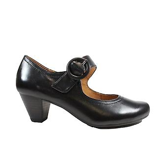 Caprice 24403-26 Black Leather Womens Mary Jane Heeled Shoes