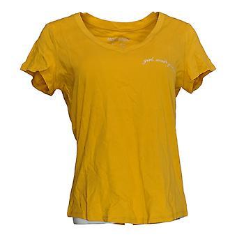 Rachel Hollis Ltd Women's Top Perfect Tee V-Neck Yellow A354045