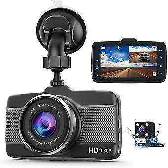Claoner Dash Cams for Cars Front and Rear 1080P Full HD Dashcam, Dual Dash Cam