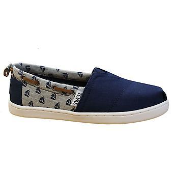 Toms Bimini Navy Canvas Sailboats Slip On Youths Kids Espadrille Shoes 10010047