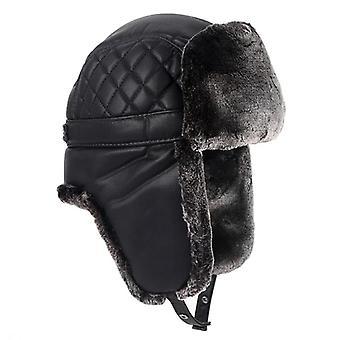 الشتاء الجلود الدافئة قبعة الطيار، Faxu الفراء Earflap قبعة قاذفة قنابل