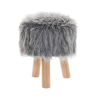 Grey Furry Stool Round By Lesser & Pavey