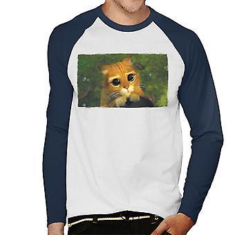 Shrek Puss I Støvler Cute Eyes Mænd's Baseball Langærmet T-shirt