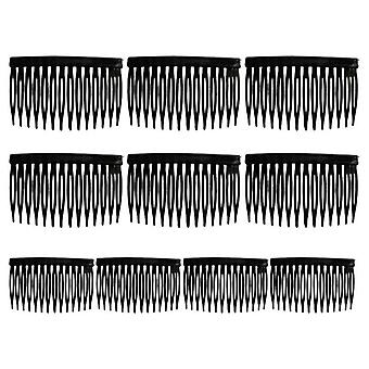 10 Pcs/set Bride Tiara Veil Comb Plastic Black White Transparent Fork Combs