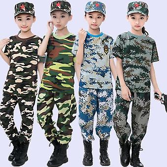 Conjuntos de uniformes táticos militares da Airsoft, adolescente, acampamento de verão, camuflagem