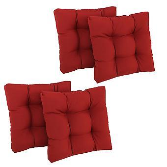 Coussin de chaise à manger touffu Twill carré de 19 pouces (ensemble de quatre) - rouge rubis
