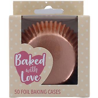 Rose Gold Foil Baking Cases - 50 pack - single