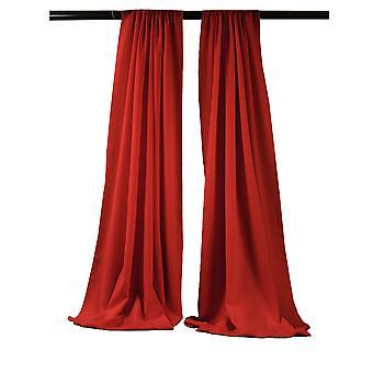 La Linen Pack-2 Polyester Poplin Backdrop Drape 96-Inch Wide By 58-Inch High, Red