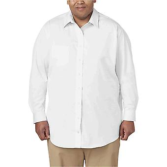 "Essentials Herre's Big & Tall Rynke-Resistent Langermet Solid Skjorte, Hvit, 19"" Hals, 34""-35"" Erme"