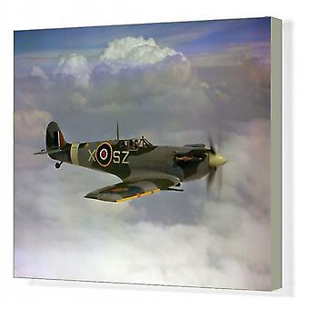 Supermarine Spitfire V. laatikkokankaan painatus. Supermarine Spitfire V: n lennätti ryhmän kapteeni M.W.S..
