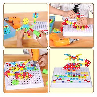 Drill Pretend Play Creative Educational Games Mosaic Design Building Toy Tool