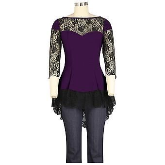 Chic Star Lace Blouse In Purple