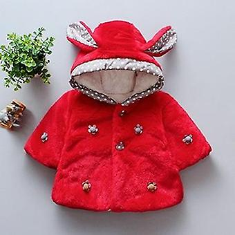 Winter Baby Clothes, Cute Plush Rabbit Ear Princess Coat, Fleece Warm Kids