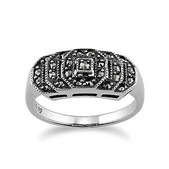 Sterling sølv 0,28 ct Marcasite Art Deco-stil Ring