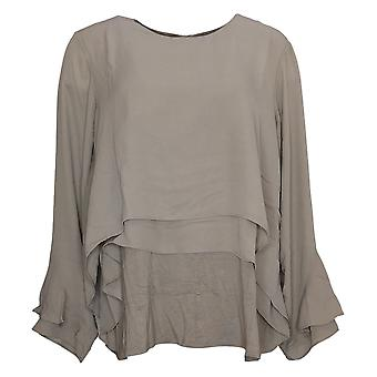 Lisa Rinna Collection Women's Top Flounce Long Sleeve Blouse Brown A341715