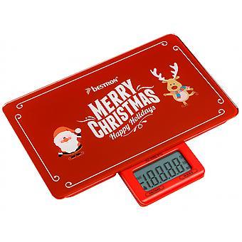 küchenwaage Merry Christmas 23 cm Glas rot