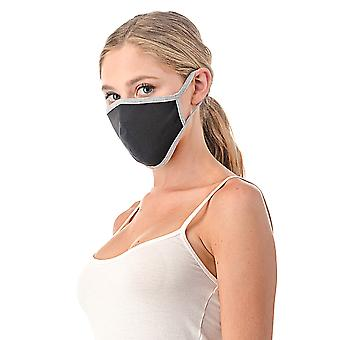 Grey Trim Reusable/washable Cotton Face Mask, Unisex Mask, Made In Usa