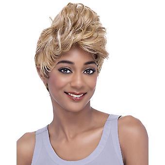 Donna parrucca moda capelli ricci corti nero rosso colore sfumato copricapo w1