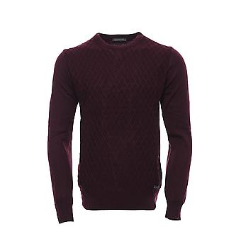 Burgundy diamond pattern circle neck sweater
