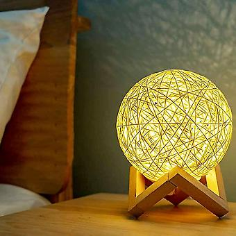 Led night light bedside lamp rattan wood bedroom mood lamp usb rechargeable dt7098