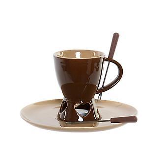 Chocolate Fondue DKD Home Decor Porcelana de aço inoxidável