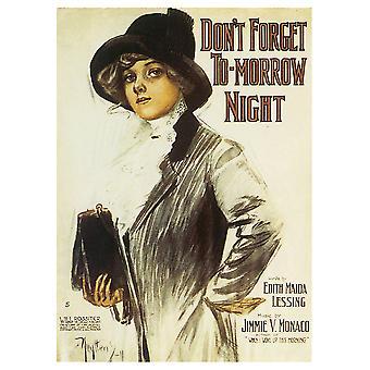 Copertina Musicale Vintage Don'T Forget To-Morrow Night - Stampa su Tela, Decorazione Parete