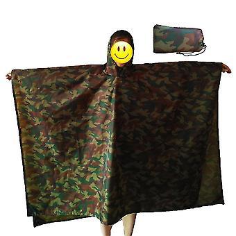 Camouflage groene 220 * 145cm verdikte regenjas multifunctionele draagbare waterdichte rugzak homi2627