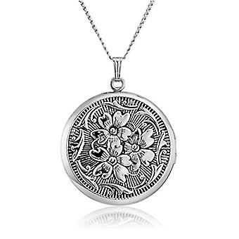 Sterling Silver Round Embossed Antique Finish Locket, silver, Size No Size