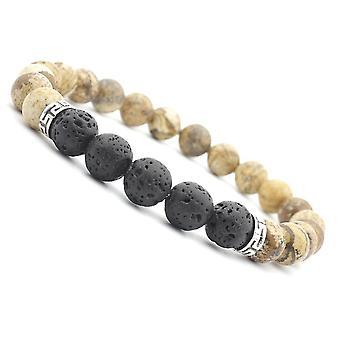 Ethnic Volcanic Rock Beads Bracelet Vintage Lava Rock Beads Adjustable Bracelet