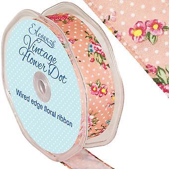10m rosa Vintage blomst Dot 25 mm brede kablet kanten båndet