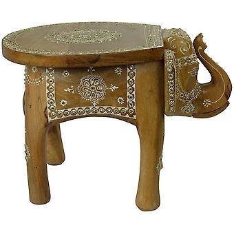 Hieno aasialainen elefanttijakkara Mosaiikki Käsintehty Intiassa 35x44x36cm