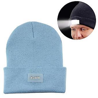 Unisex Warm Winter Polyacrylonitrile Knit Hat Adult Head Cap with 5 LED Light (Aqua Blue)