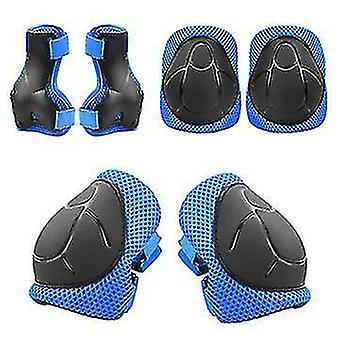 子供のローラースケートバランススクータースポーツ保護具の6セット(青)