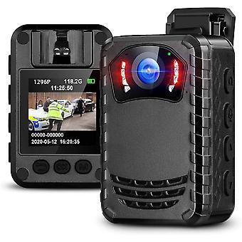 ミニフルHDカメラ1296Pポータブルナイトビジョン警察ボディカメラ-128GB(ブラック)