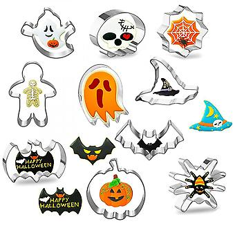 A Set Of 10 Stainless Steel  Molds For Halloween Cake Baking Diy Tool Set