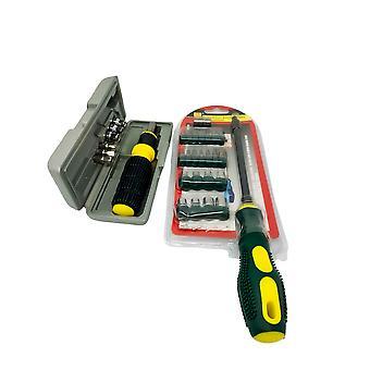 H-basics Schraubendreher mit 22 verschiedenen Aufsätzen + Bit Socket set mit 8 Aufsätzen - Werkzeug, Kreuz Schraubendreher, Schlitz Schraubendreher