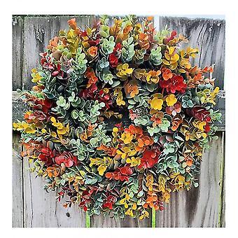 קישוט חג סתיו אקליפטוס בית חווה זר דלת הכניסה תלויה קישוט לכל עונות השנה קישוט סתיו