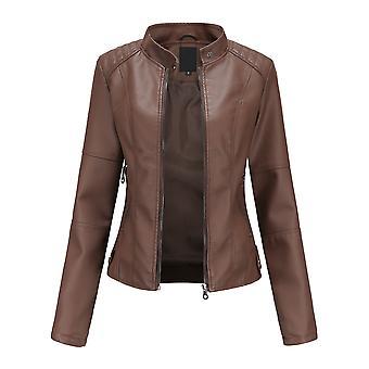 Mile Womens Slim Pu Faux Leather Jacket Thin Stand Collar Spring Autumn Long Sleeve Elegant Zip Up Short Moto Jackets
