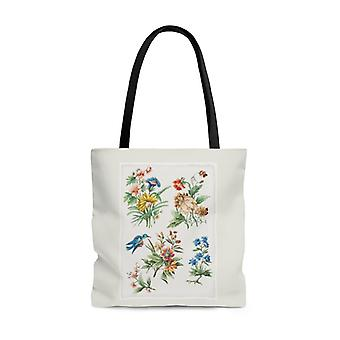 Premium polyester tote bag - vintage flower art #102 vintage art | artsy tote bag, graphic tote bag, aesthetic tote bag, birthday gift idea