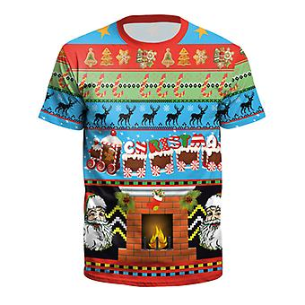 kvinners menns jul 3d grafisk trykk kortermet t-skjorte xmas topper